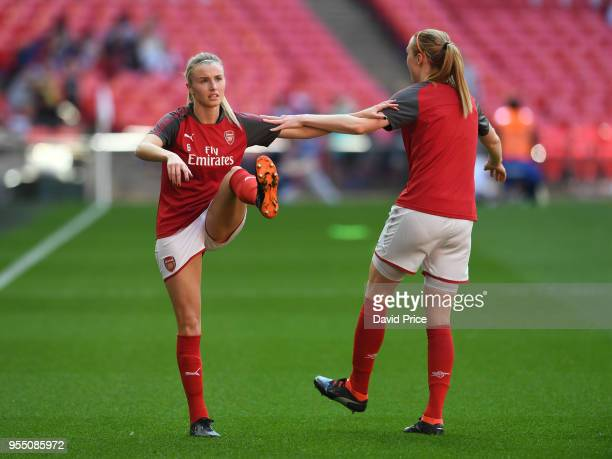 Leah Williamson of Arsenal warms up before the match between Arsenal Women and Chelsea Ladies at Wembley Stadium on May 5 2018 in London England