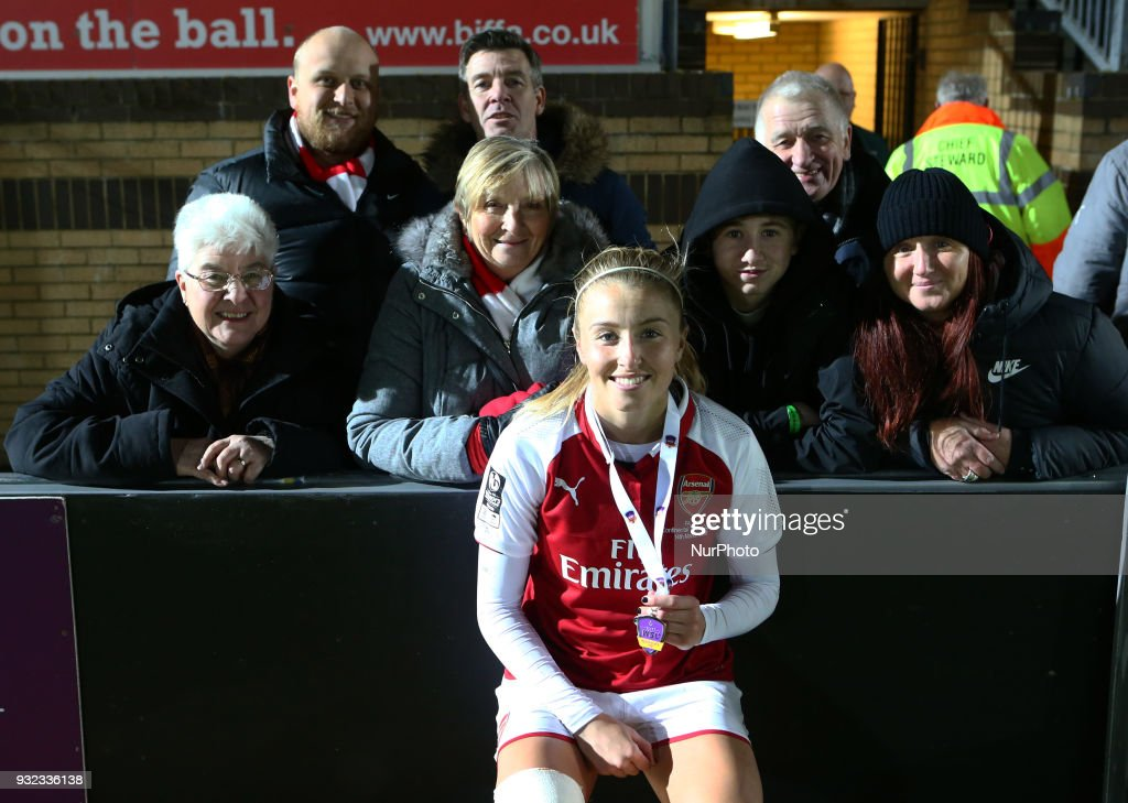 Leah Williamson of Arsenal with her Family during The FA WSL Continental Tyres Cup Final match between Arsenal against Manchester City Women at Adams Park stadium, Wycombe England on 14 March 2018