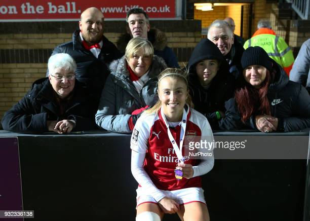 Leah Williamson of Arsenal with her Family during The FA WSL Continental Tyres Cup Final match between Arsenal against Manchester City Women at Adams...