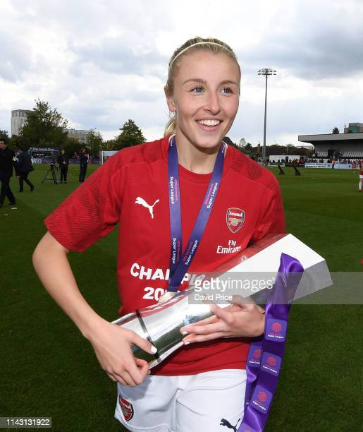 Leah Williamson of Arsenal with the WSL Trophy after the match between Arsenal Women and Manchester City Women at Meadow Park on May 11 2019 in...
