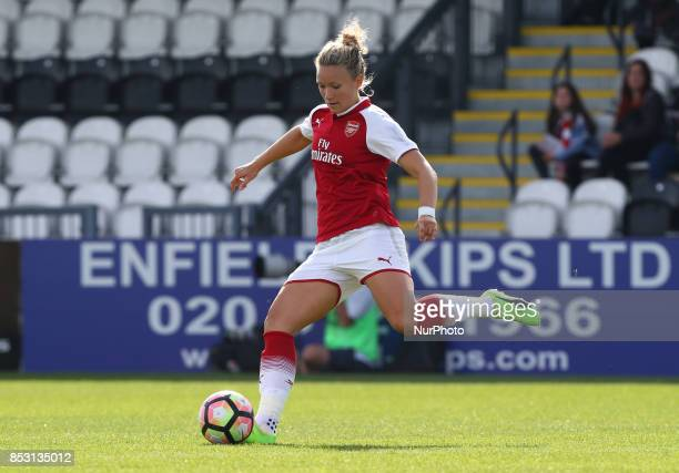 Leah Williamson of Arsenal Women during Women's Super League 1 match between Arsenal Women FC against Birmingham Ladies at Borehamwood Football Club...