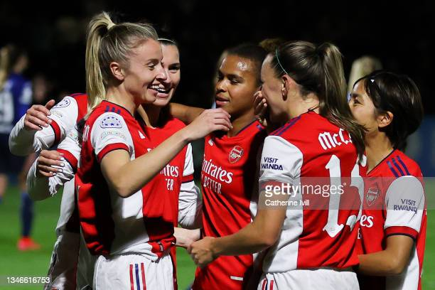 Leah Williamson of Arsenal Women FC celebrates with her team mates after scoring his team's fourth goal during the UEFA Women's Champions League...