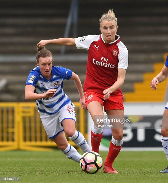 Leah Williamson of Arsenal Women takes on Remi Allen of Reading during the match between Reading FC Women and Arsenal Women at Adams Park on January...