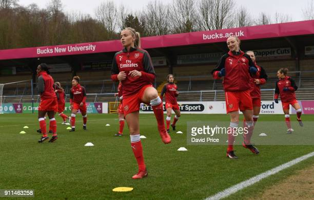 Leah Williamson of Arsenal Women warms up before the match between Reading FC Women and Arsenal Women at Adams Park on January 28 2018 in High...