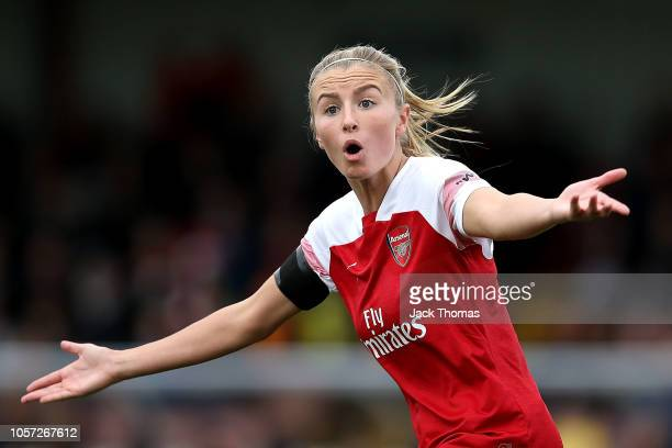 Leah Williamson of Birmingham City reacts during the WSL match between Arsenal Women and Birmingham Ladies at Meadow Park on November 4 2018 in...