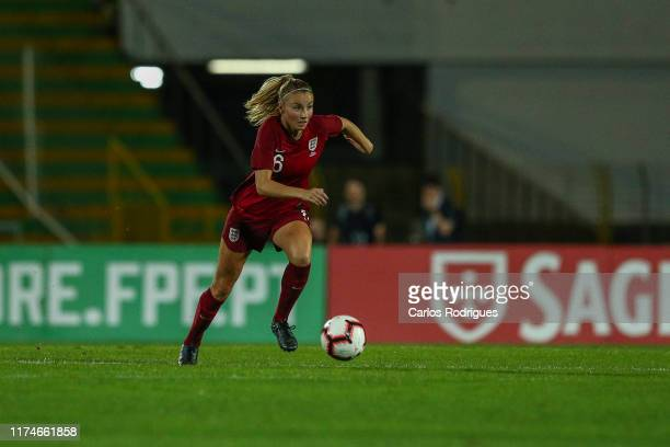 Leah Williamson of England and Arsenal during Portugal Women v England Women - International Friendly at Estadio do Bonfim on October 10, 2019 in...