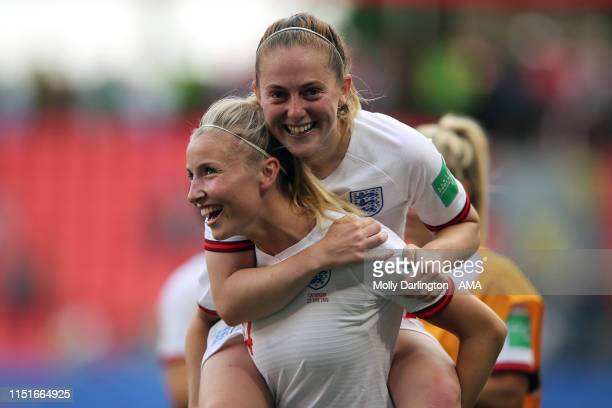 Leah Williamson of England and Keira Walsh of England celebrate victory after the 2019 FIFA Women's World Cup France Round Of 16 match between...
