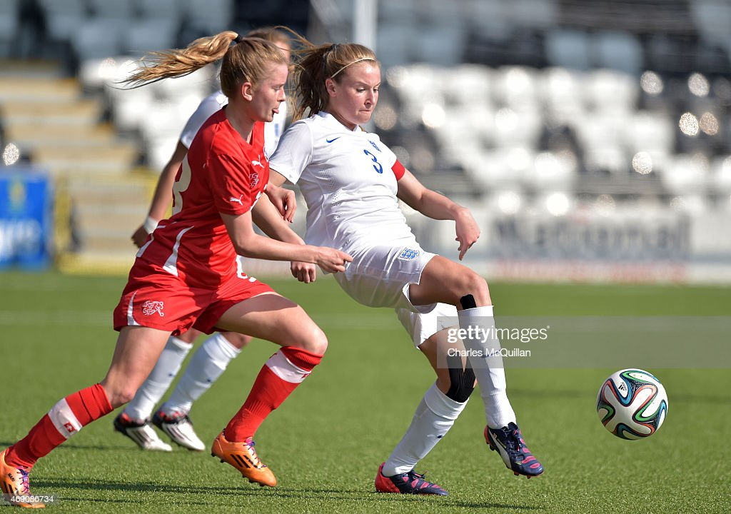 Leah Williamson (R) of England and Marilena Widmer (L) of Switzerland during the UEFA U19 Women's Qualifier between England and Switzerland at Seaview on April 9, 2015 in Belfast, Northern Ireland.