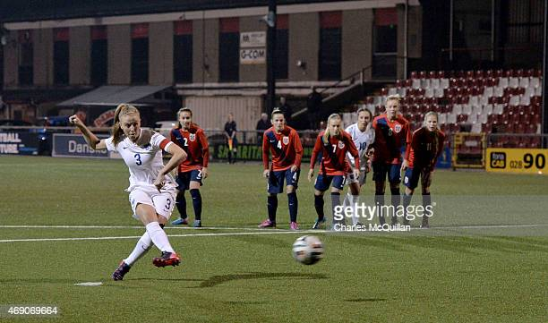 Leah Williamson of England retakes a last minute penalty during the UEFA U19 Women's Qualifier between England and Norway at Seaview on April 9 2015...