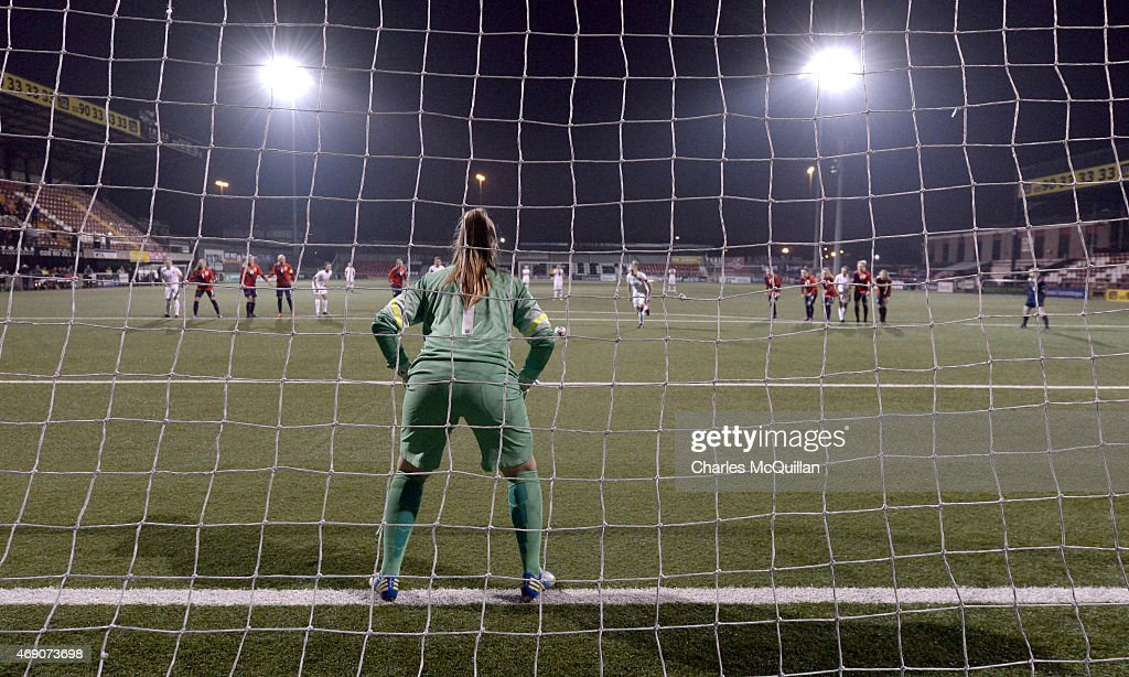 Leah Williamson of England retakes a last minute penalty during the UEFA U19 Women's Qualifier between England and Norway at Seaview on April 9, 2015 in Belfast, Northern Ireland. The original penalty, taken during the game played on Saturday April 4, 2015, was incorrectly disallowed by the match official and the retaking of the penalty, with both teams in attendance, was ordered by UEFA.