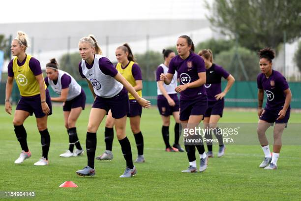 Leah Williamson of England runs through drills during a training session at Stade CharlesEhrmann on June 10 2019 in Nice France