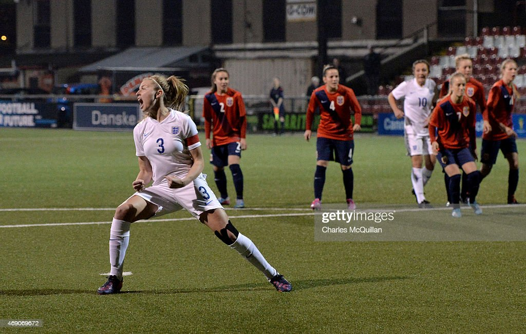 Leah Williamson of England scores from a retaken last minute penalty during the UEFA U19 Women's Qualifier between England and Norway at Seaview on April 9, 2015 in Belfast, Northern Ireland. The original penalty, taken during the game played on Saturday April 4, 2015, was incorrectly disallowed by the match official and the retaking of the penalty, with both teams in attendance, was ordered by UEFA.