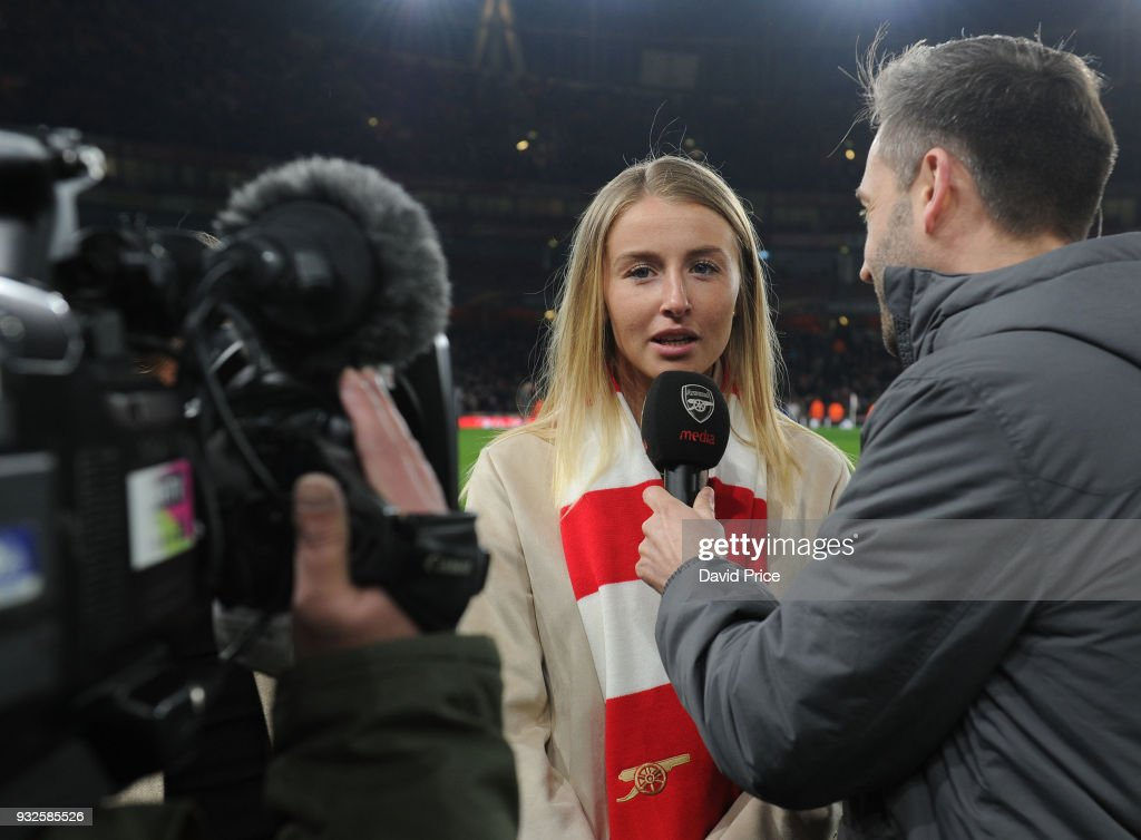 Leah Williamson of the Arsenal Women is interviewed at half time during the match between Arsenal and AC Milan at Emirates Stadium on March 15, 2018 in London, England.
