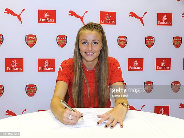 Leah Williamson signs a new long term contract with Arsenal Ladies at London Colney on July 30 2015 in St Albans England