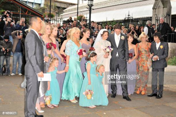Leah Wood and Jack MacDonald are seen during their wedding at Southwark Cathedral on June 21 2008 in London England