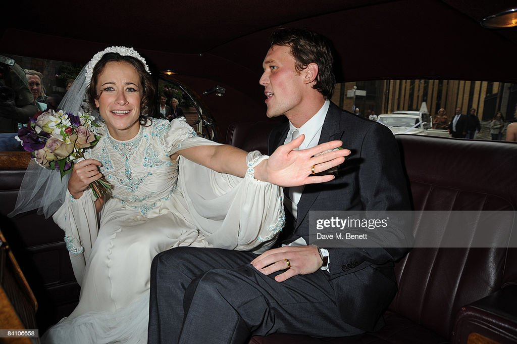 Leah Wood and Jack MacDonald attend their wedding at Southwark Cathedral on June 21, 2008 in London, England.