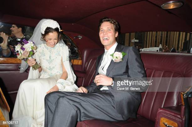 Leah Wood and Jack MacDonald attend their wedding at Southwark Cathedral on June 21 2008 in London England