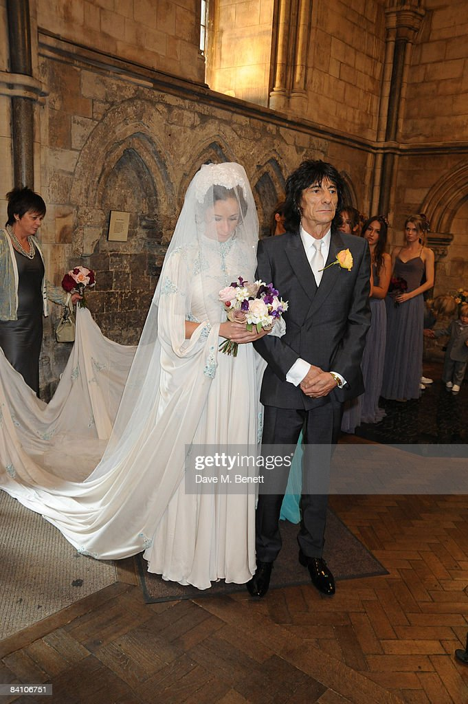 Leah Wood and Ronnie Wood attend her wedding to Jack MacDonald at Southwark Cathedral on June 21, 2008 in London, England.
