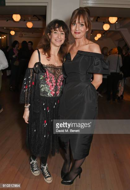 Leah Wood and Teresa Tarmey attend the launch of Teresa Tarmey's new 'at home facial system' at Mortimer House sponsored by CIROC on January 25 2018...