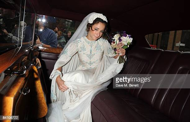 Leah Wood attends her wedding to Jack MacDonald at Southwark Cathedral on June 21 2008 in London England