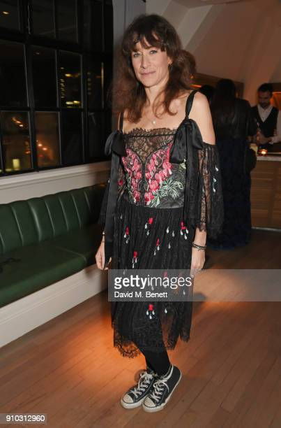 Leah Wood attends the launch of Teresa Tarmey's new 'at home facial system' at Mortimer House sponsored by CIROC on January 25 2018 in London England