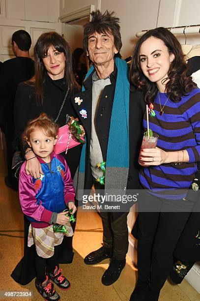 Leah Wood Ronnie Wood and Sally Wood attend the Stella McCartney Christmas Lights switch on at the Stella McCartney Bruton Street Store on November...