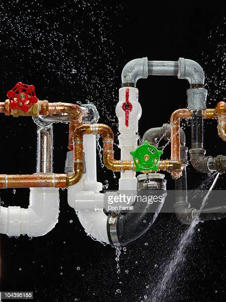 leaking miss-matched plumbing pipes. - mismatch stock pictures, royalty-free photos & images