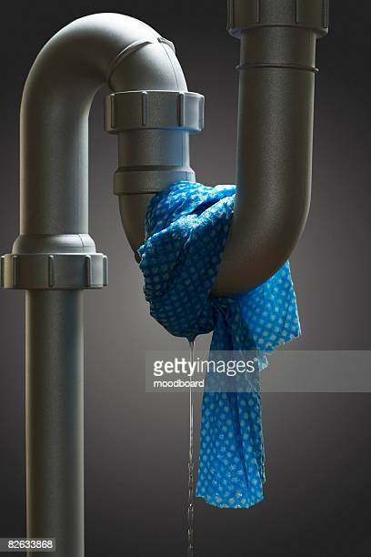 Leaking pipe with towel