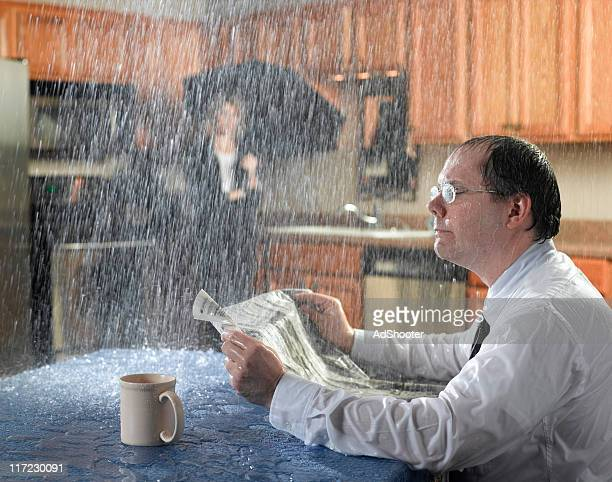 leaking roof - freaky couples stock photos and pictures