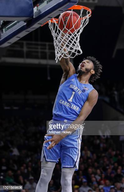 Leaky Black of the North Carolina Tar Heels dunks the ball during the second half against the Notre Dame Fighting Irish at Purcell Pavilion on...