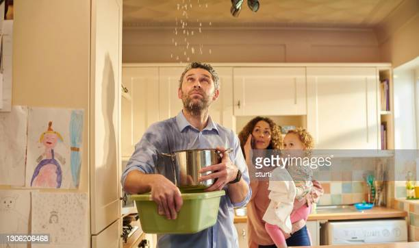 leaky pipe in the ceiling - damaged stock pictures, royalty-free photos & images
