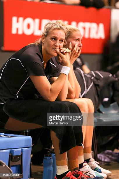 Leana de Bruin and Casey Kopua both of New Zealand look on from the bench during the International Test match between the New Zealand Silver Ferns...