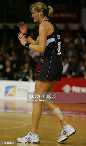 Leana De Bruin calls for time out after hurting her ankle during the 2007 Netball World Championship semi final match between New Zealand and Jamaica...