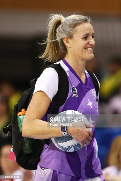 Leana De Bruin of the Stars takes the court during the ANZ Premiership Netball Final between the Pulse and the Stars at Te Rauparaha Arena on June 03...