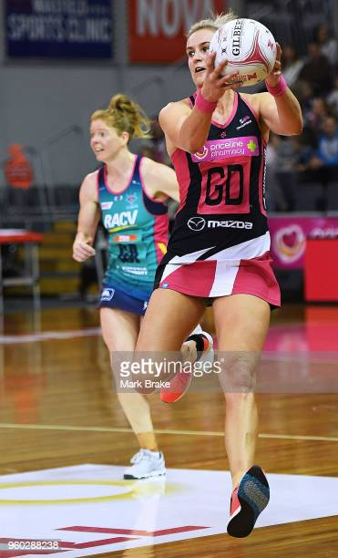 Leana de Bruin of the Thunderbirds during the round four Super Netball match between the Thunderbirds and the Vixens at Priceline Stadium on May 20...