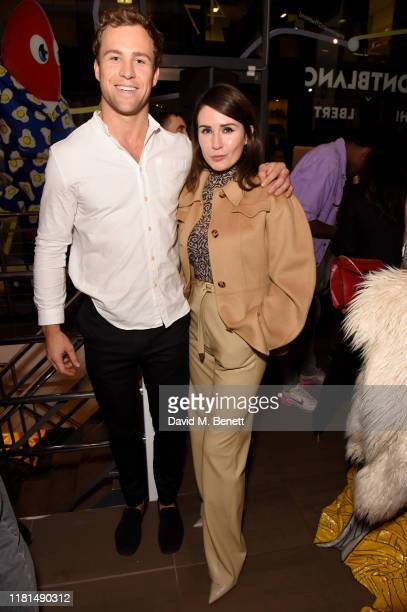 Leander Cadbury and Olga Timofejeva attend a celebration of In Transit, an immersive retail pop-up in East London with Montblanc and Philip Colbert...