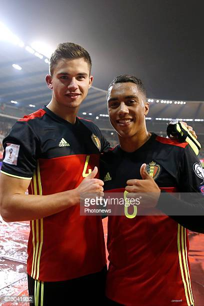 Leander Dendoncker midfielder of Belgium and Youri Tielemans midfielder of Belgium - team of Belgium celebrates during the World Cup Qualifier Group...