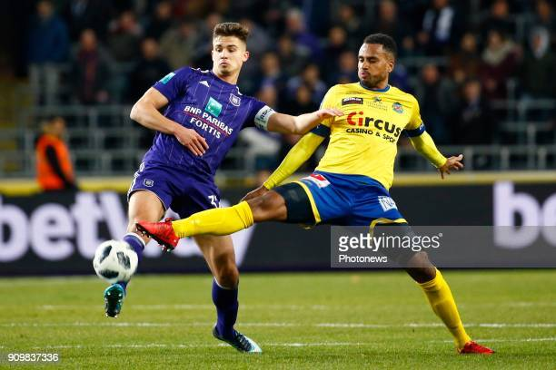 Leander Dendoncker midfielder of RSC Anderlecht and Isaac Kiese Thelin forward of Beveren during the Jupiler Pro League match between RSC Anderlecht...