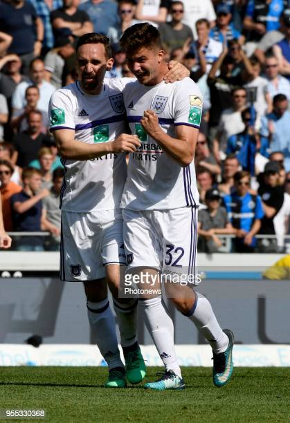 Leander Dendoncker midfielder of RSC Anderlecht and Josue Sa defender of RSC Anderlecht celebrates the win pictured during the Jupiler Pro League...