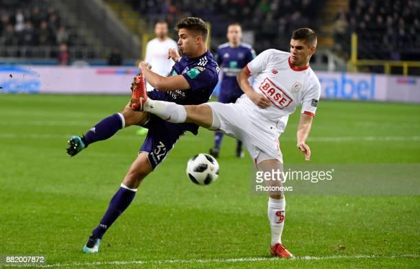Leander Dendoncker midfielder of RSC Anderlecht and Marin Razvan midfielder of Standard Liege pictured during the round of 1/8 Croky Cup between Rsc...
