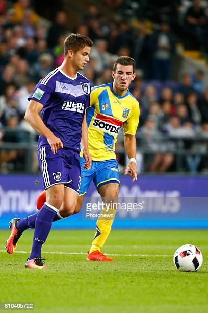 Leander Dendoncker midfielder of RSC Anderlecht and Michael Heylen defender of KVC Westerlo pictured during Jupiler Pro League match between RSC...