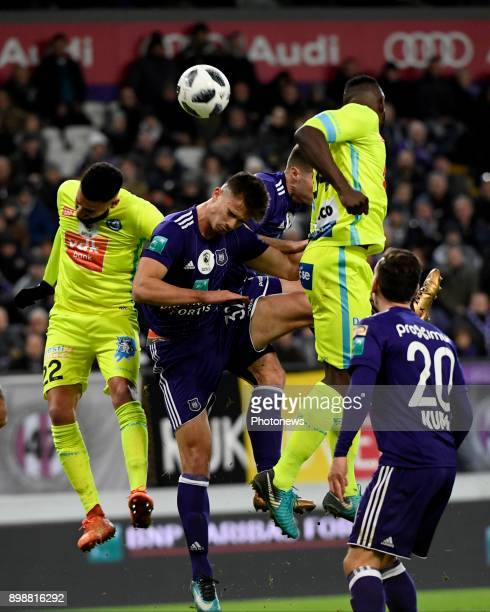 Leander Dendoncker midfielder of RSC Anderlecht during the Jupiler Pro League match between RSC Anderlecht and KAA Gent at the Constant Vanden Stock...