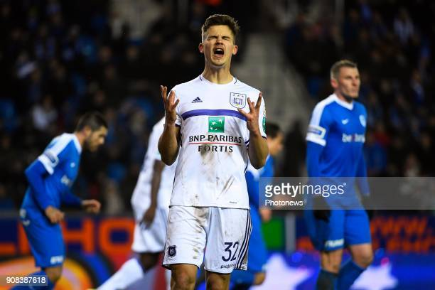 Leander Dendoncker midfielder of RSC Anderlecht during the Jupiler Pro League match between KRC Genk and RSC Anderlecht on January 21 2018 in Genk...