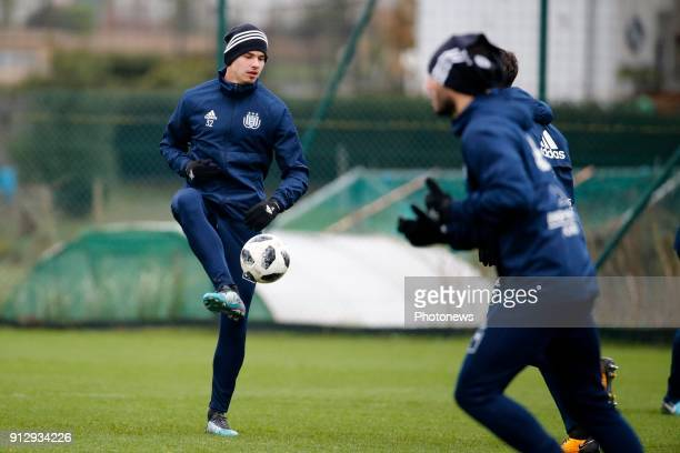 Leander Dendoncker midfielder of RSC Anderlecht pictured during the closed training session of Rsc Anderlecht in Neerpede Belgium ***NEERPEDE BELGIUM...