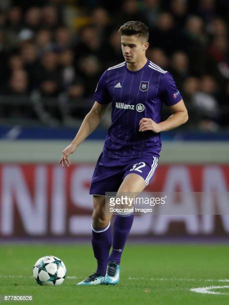 Leander Dendoncker of Anderlecht during the UEFA Champions League match between Anderlecht v Bayern Munchen at the Constant Vanden Stock Stadium on...