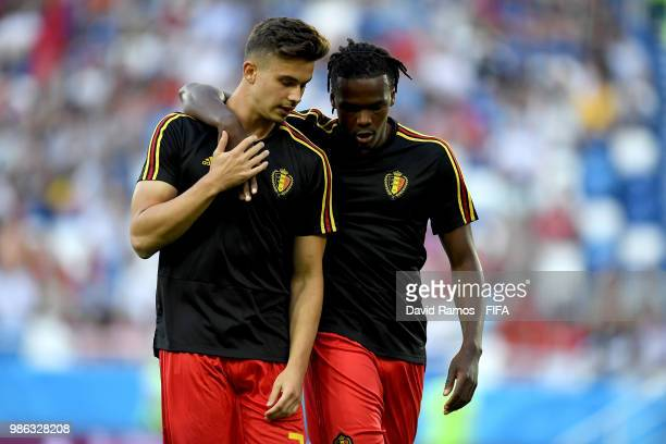 Leander Dendoncker of Belgium and Dedryck Boyata of Belgium speak during the warm up prior to the 2018 FIFA World Cup Russia group G match between...