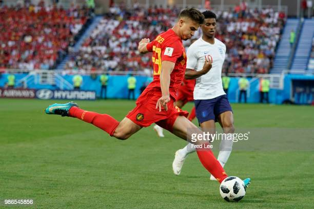 Leander Dendoncker of Belgium in action during the 2018 FIFA World Cup Russia group G match between England and Belgium at Kaliningrad Stadium on...