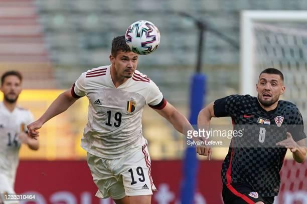 Leander Dendoncker of Belgium in action during the international friendly match between Belgium and Croatia at King Baudouin Stadium on June 6, 2021...