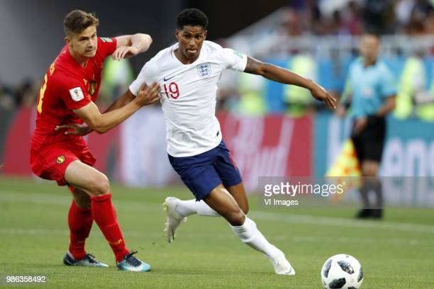 Leander Dendoncker of Belgium Marcus Rashford of England during the 2018 FIFA World Cup Russia group G match between England and Belgium at the...