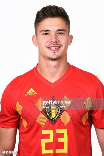 Leander Dendoncker of Belgium poses for a portrait during the official FIFA World Cup 2018 portrait session at the Moscow Country Club on June 14...
